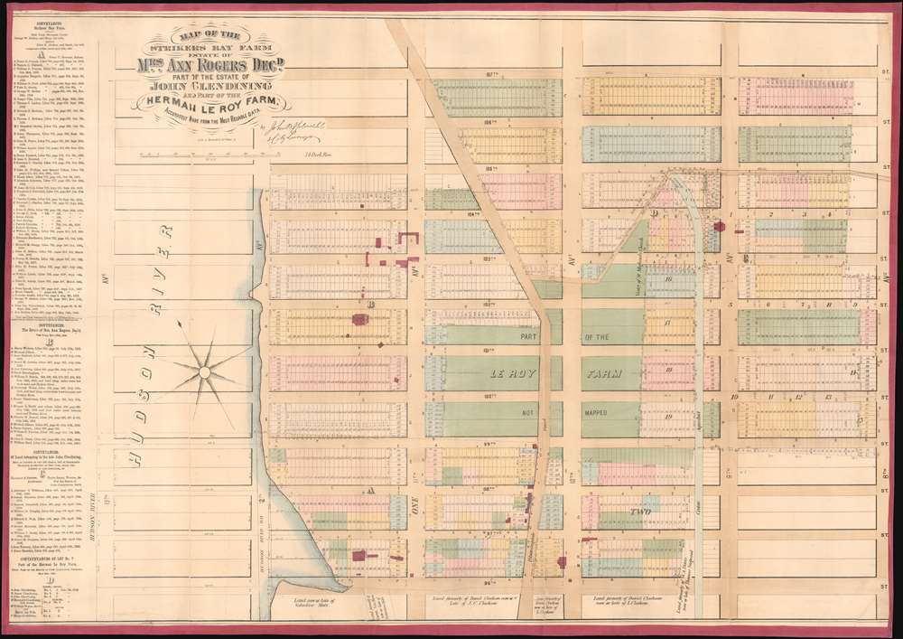 1867 Holmes Map of the Upper West Side and Manhattan Valley, New York City