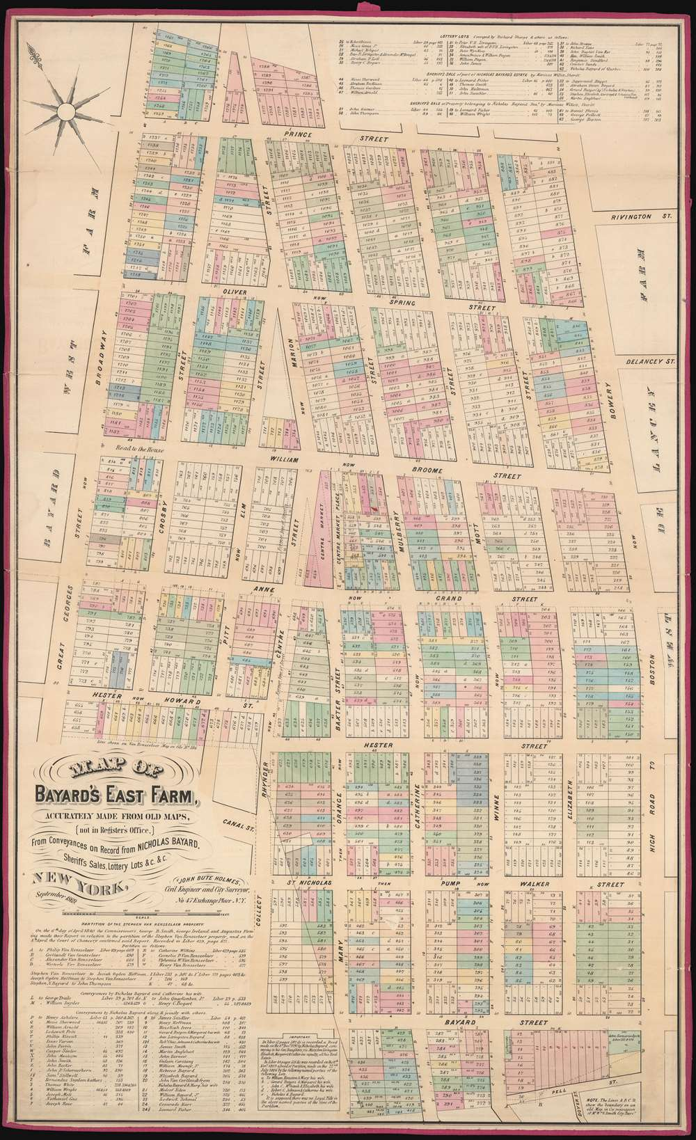 Map of Bayard's East Farm, Accurately Made from Old Maps, (not in Register's Office), From Conveyances on Record from NICHOLAS BAYARD, Sheriff's Sales, Lottery Lots, etc., etc. - Main View