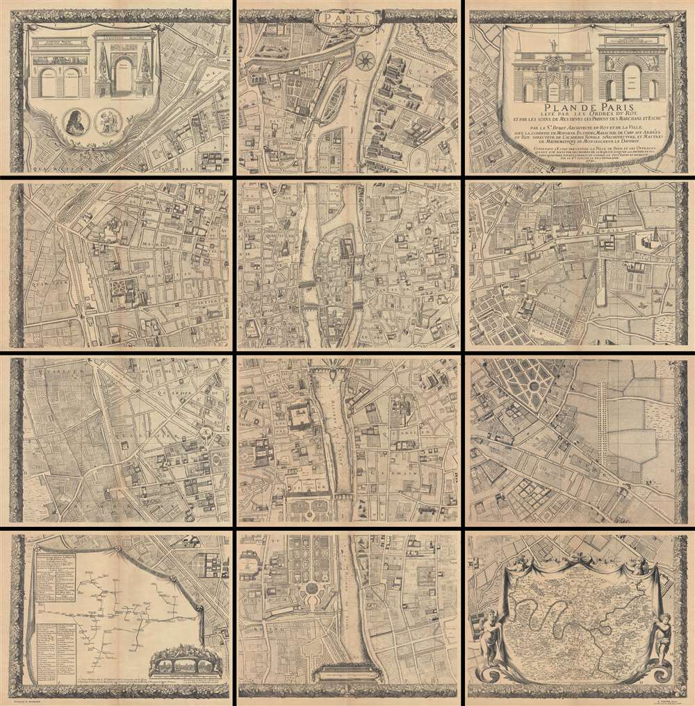 1710 Jaillot Plan or Map of Paris (1900 Taride issue)