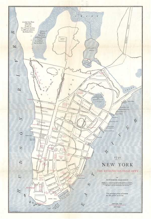 Colonial New York Map 1730 New York The English Colonial City.: Geographicus Rare