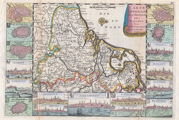 Carte Generale des 17 Provinces des Pais Bas Ave Leurs Capitales.
