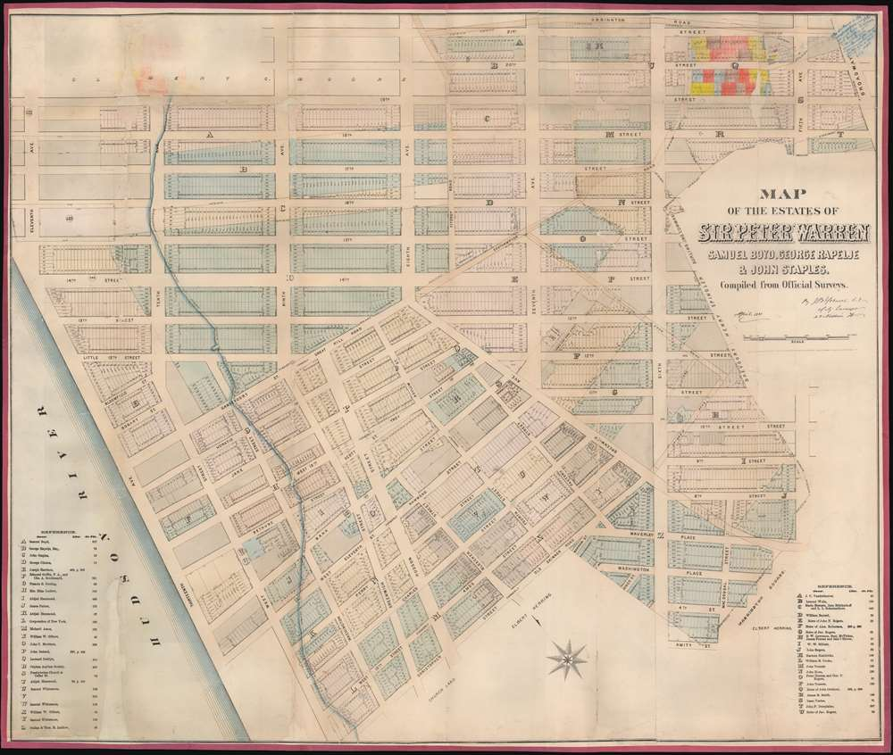Map of the Estates of Sir Peter Warren, Samuel Boyd, George Rapelje and John Staples.