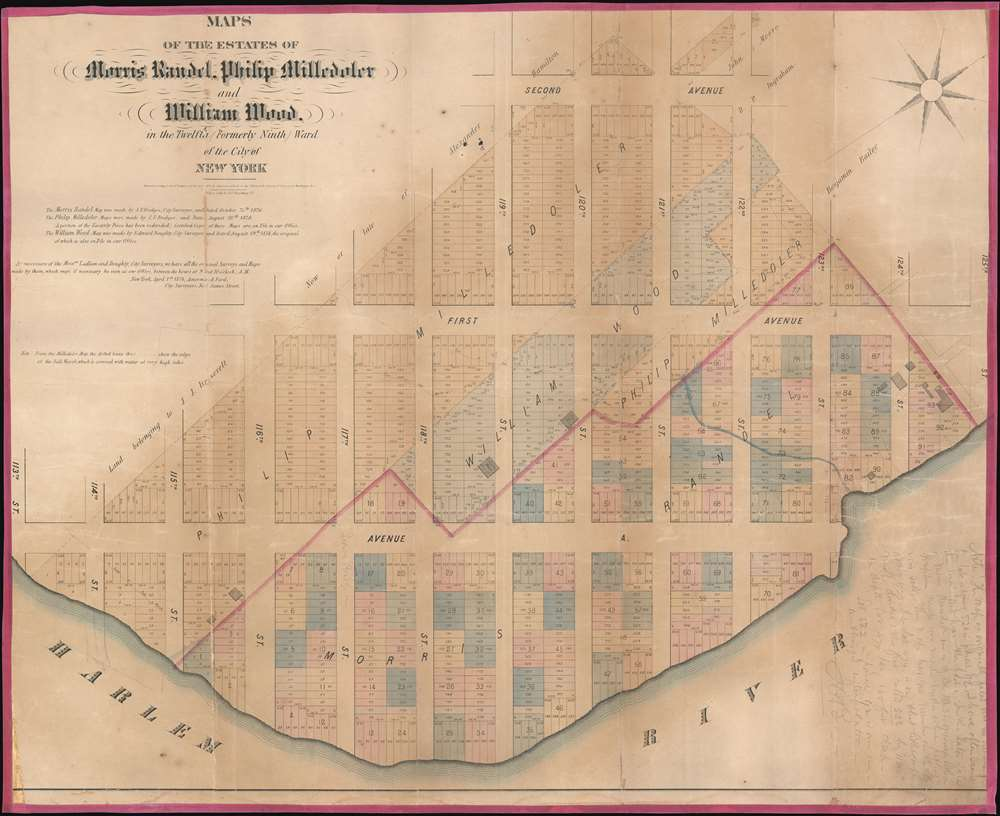1874 Amerman and Ford Map of The Upper East Side, 114th to 125th, New York City