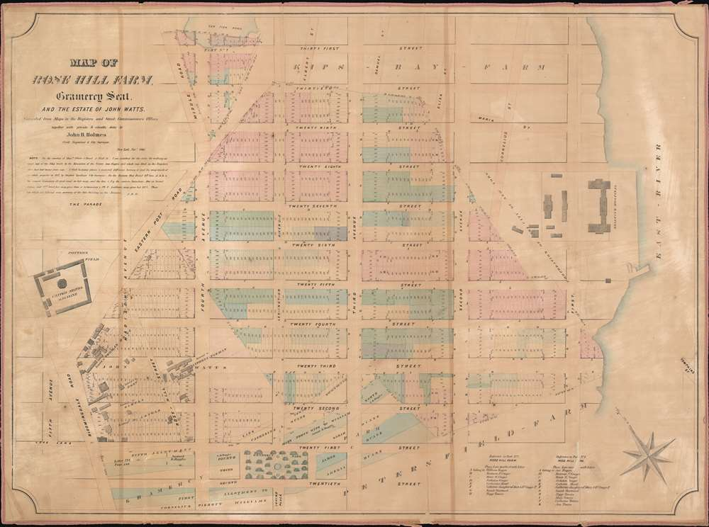 1866 Holmes Map of Gramercy, Rose Hill, and Kips Bay, Manhattan, New York City