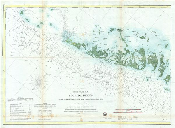 Preliminary Coast Chart No. 71 Florida Reefs from Newfound Harbor Key to Boca Grande Key. - Main View