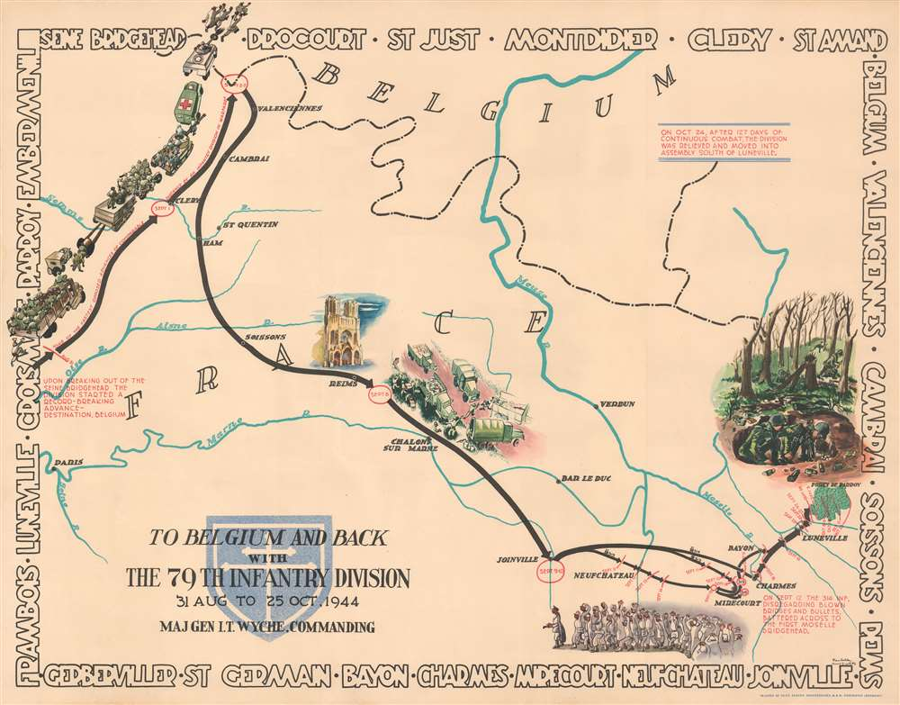Through France with the 79th Infantry Division 14 June to 29 Aug, 1944. Maj Gen I.T. Wyche, Commanding. / To Belgium and Back wit the 79th Infantry Division 31 Aug to 25 Oct, 1944 Maj. Gen. I. T. Wyche, Commanding. / To the Rhine with the 79th Infantry Division 25 Oct to 14 Feb. 1945 Maj Gen I.T. Wyche, Commanding. / Over the Rhine with the 79th Infantry Division 17 Feb to 9 May 1945 Maj. Gen. I. T. Wyche, Commanding. - Alternate View 2
