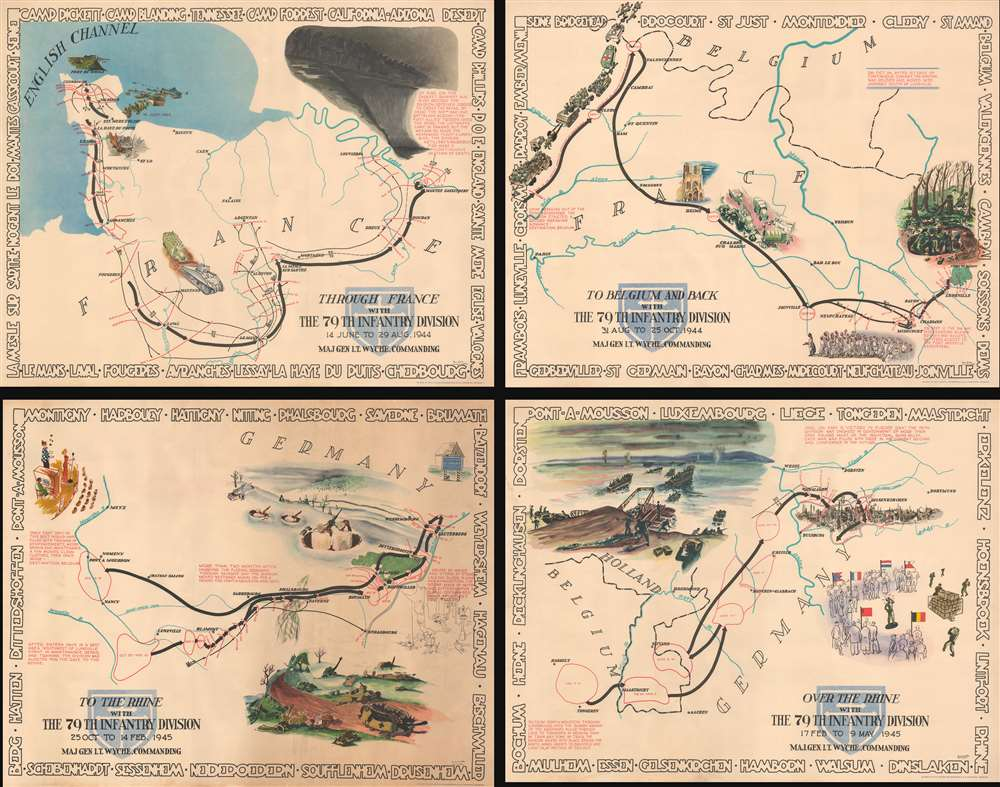 1945 Kaliher and White Set of Pictorial WWII Route Maps of  79th Inf. in Europe