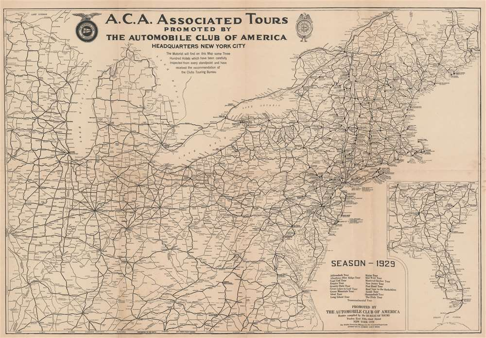 1929 Automobile Club Road Map of the Northeastern United States