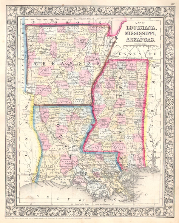 Map of Louisiana, Mississippi and Arkansas.