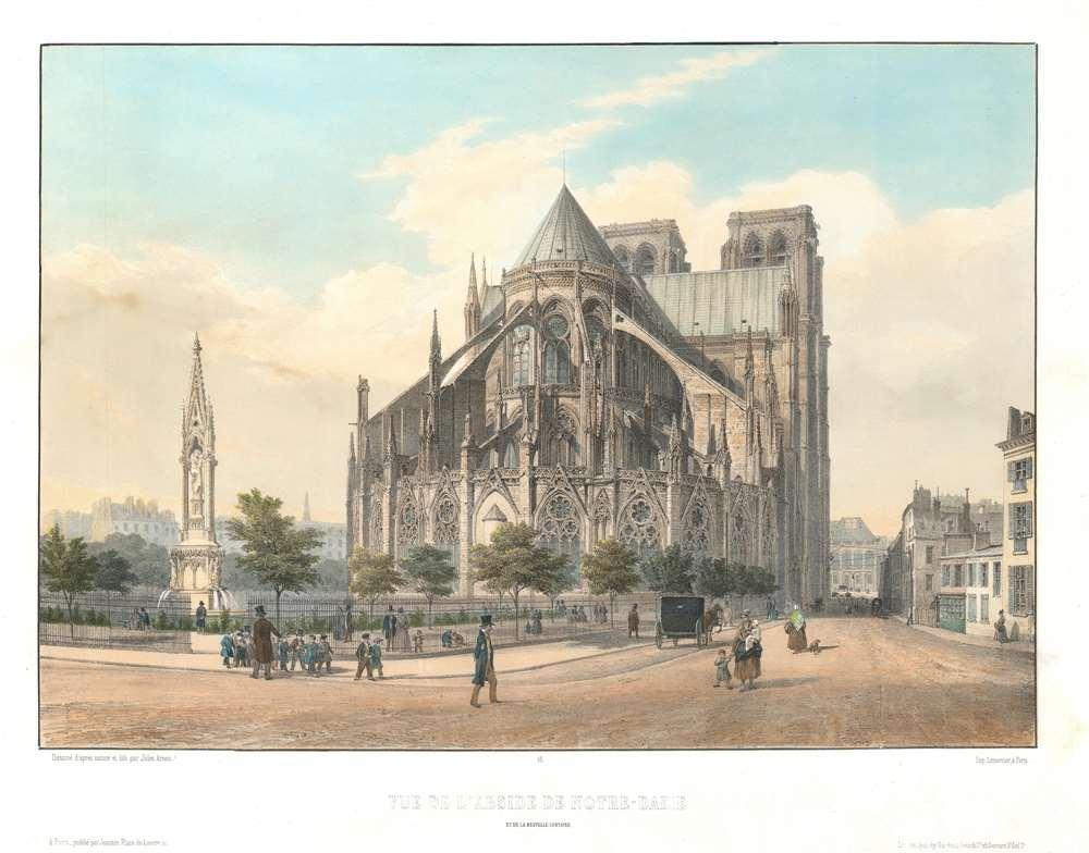 Vue de l'Abside de Notre-Dame et de nouvelle fontaine.