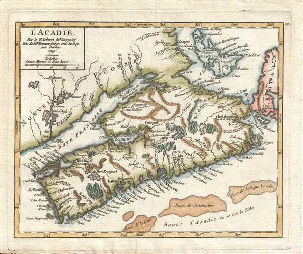 L'Acadie. Par le Sr. Robert de Vaugondy Fils de Mr. Robert Géogr. ord. du Roy.