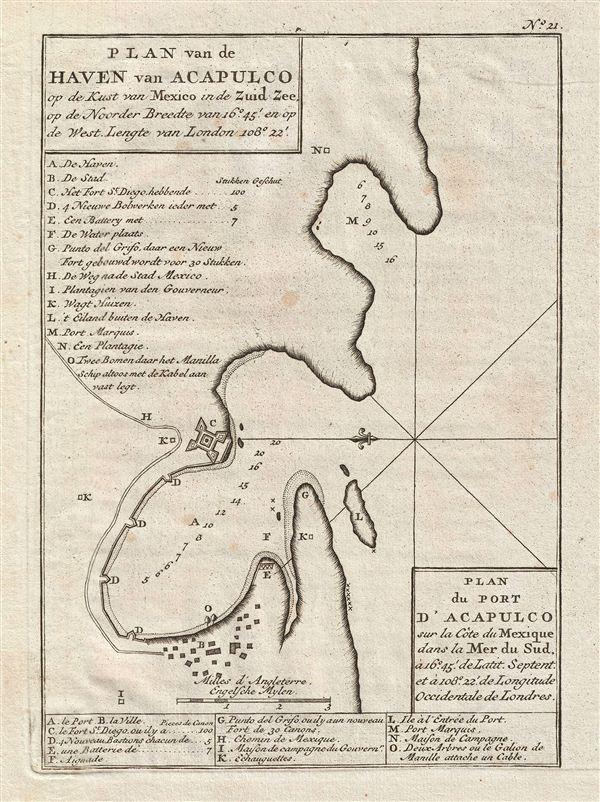 Plan du Port d'Acapulco sur la Cote du Mexique dans la Mer du Sud.