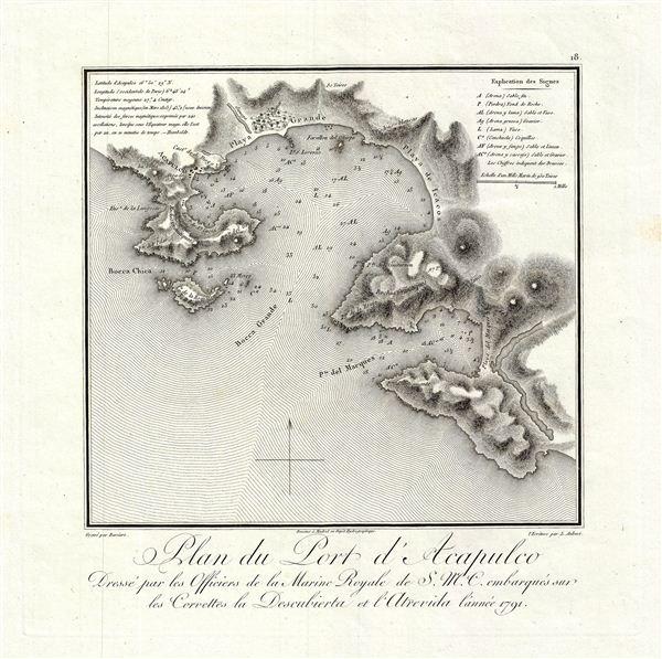 Plan du Port d'Acapulco Dresse par les Officiers de la Marine Royale de S.M.C. embarques sur les Corvettes la Descubierta et l'Atrevida lannee 1791.