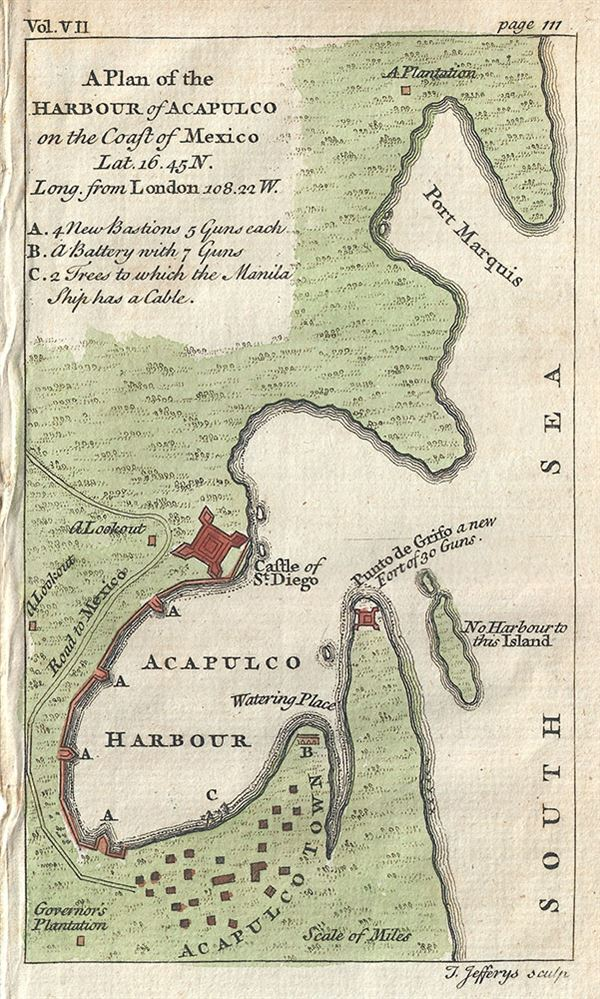 A Plan of the Harbour of Acapulco on the Coast of Mexico. - Main View