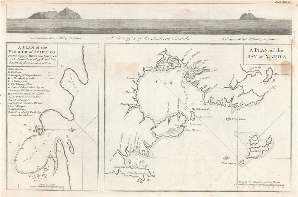 A plan of the harbour of Acapulco on the coast of Mexico in y'e South Sea, in the latitude of 16°45'N and west longitude from London 108°22' ; A plan of the Bay of Manila. - Main View