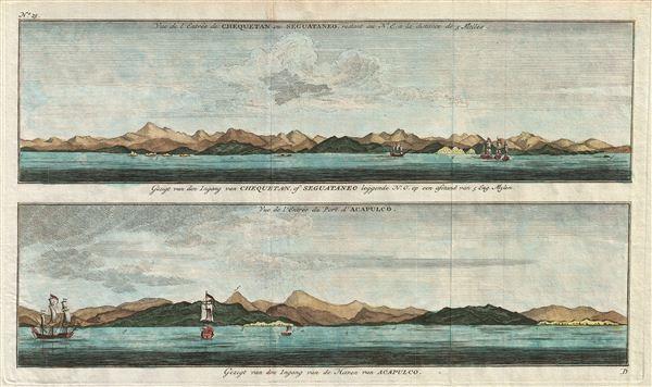 Gezigt van den Iagang van Chequetan, of Seguataneo leggende N.O. op een asstand van 5 Eng. Mylen.  / Gezigt van den Ingang van de Haven van Acapulco. - Main View