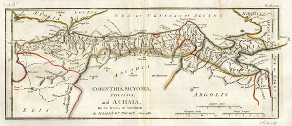 1786 Bocage Map of Corinthia, Sicyonia and Achaia in Ancient Greece