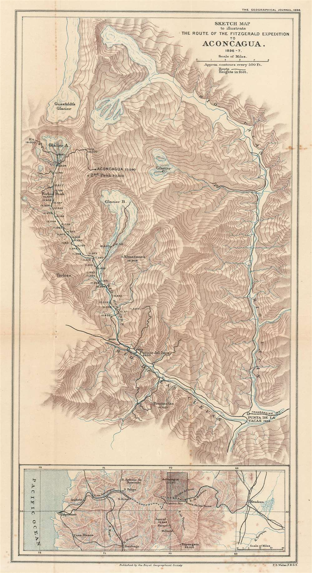 Sketch Map to illustrate the Route of the Fitzgerald Expedition to Aconcagua 1896 - 7. - Main View