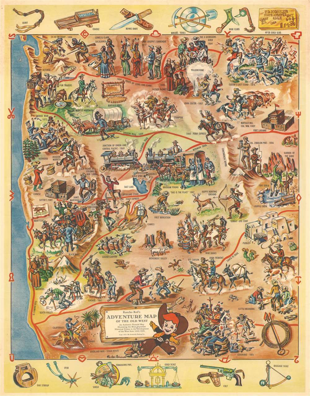 Rancho Red's Adventure Map of the Old West. An Authentic Pictorial Map Illustrating the Most Important Historical Events in the Development of the West from 1800 - 1900. - Main View