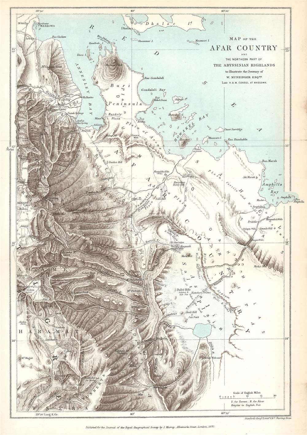 1870 Murray Map of the Afar Country, Eritrea and Ethiopia