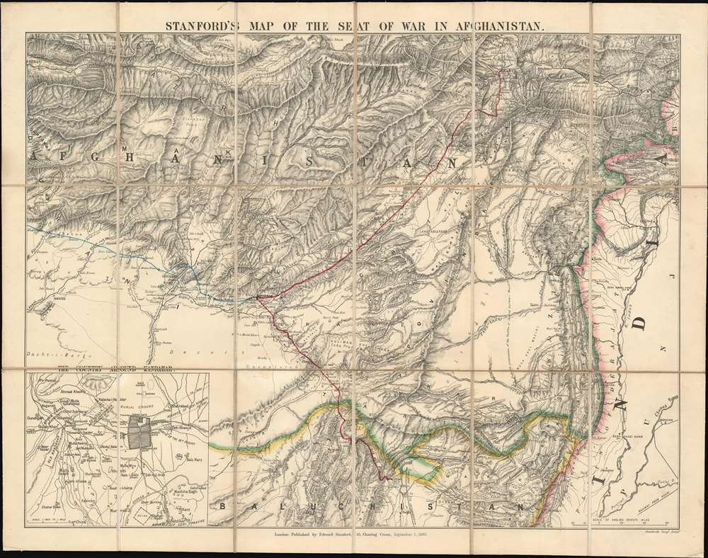1880 Stanford Map of Afghanistan During the Second Anglo-Afghan War