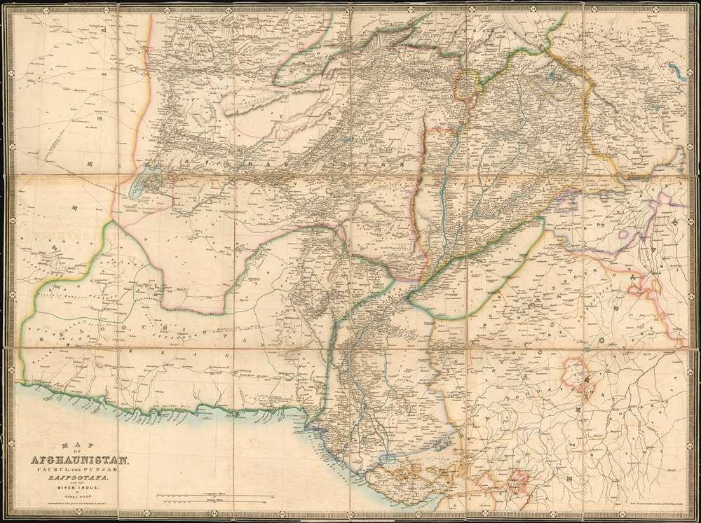 Map of   Afghaunistan, Caubul, the Punjab, Rajpootana, and the River Indus - Main View