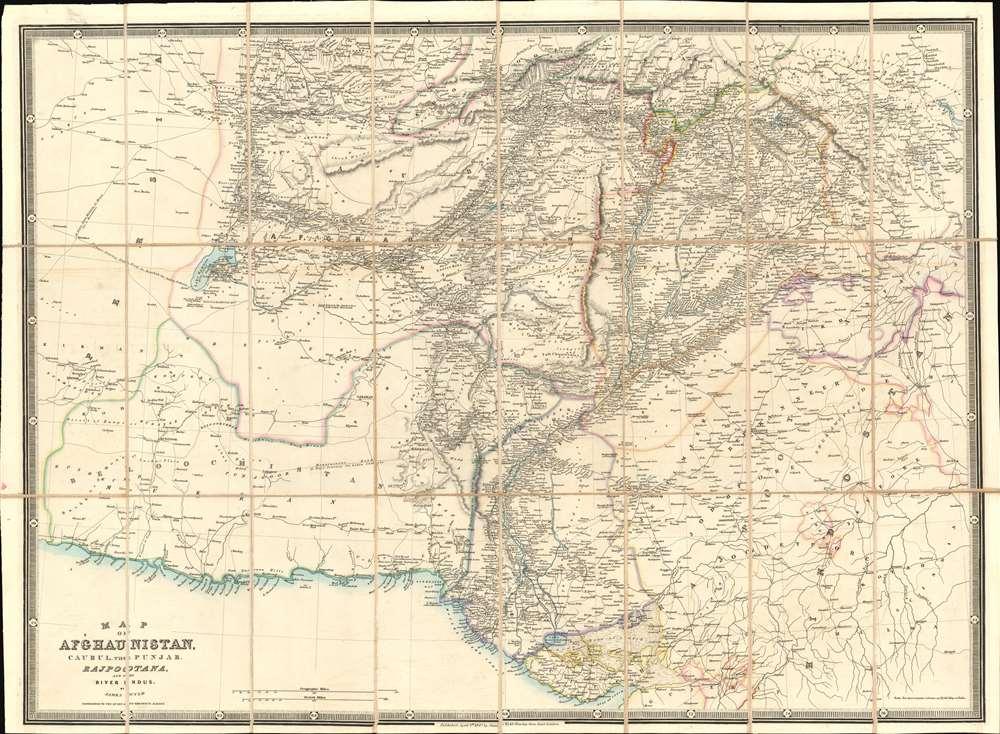 Map of  Afghaunistan, Caubul, the Punjab, Rajpootana, and the River Indus. - Main View