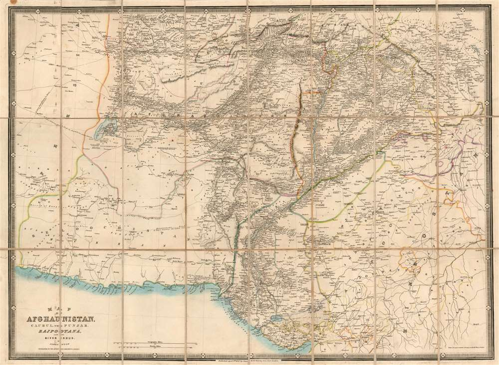 Map of Afghaunistan, Caubul, the Punjab, Rajpootana, and the River Indus - Main View