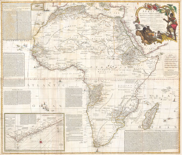 Africa, with all its States, Kingdoms, republics, Regions, Islands, & cca. Improved and Inlarged form D'Anville's Map to which has been added A particular Chart of the Gold Coast wherein are Distinguished all the European Forts, and Factories by S. Boulton.