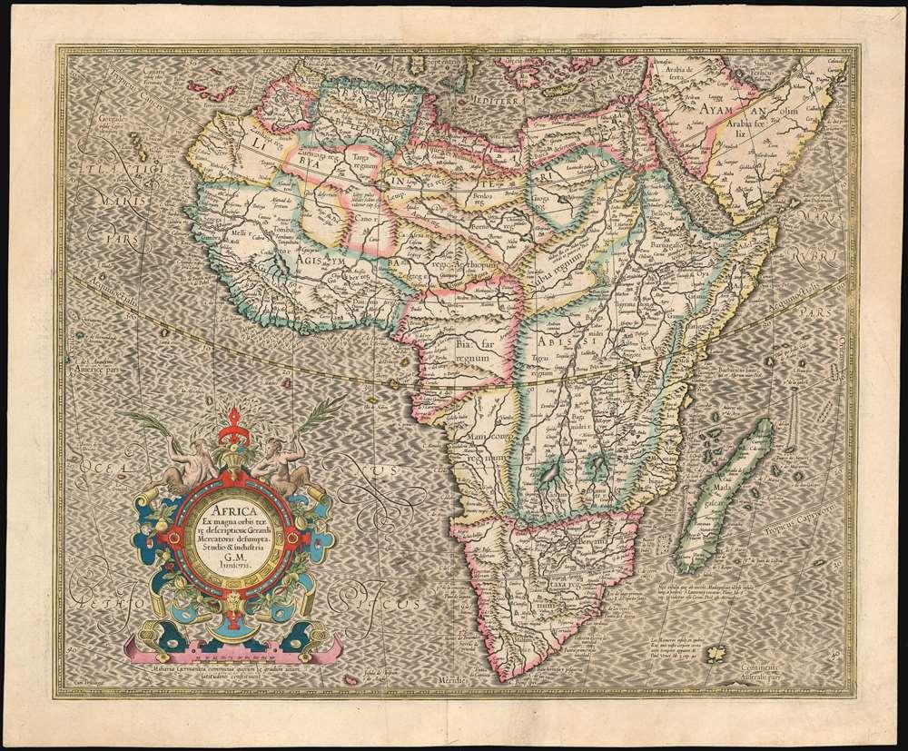 Africa Ex magnus orbis terre descriptione Gerardi Mercatoris desumpta. Studio & industria G.M. Iunioris.