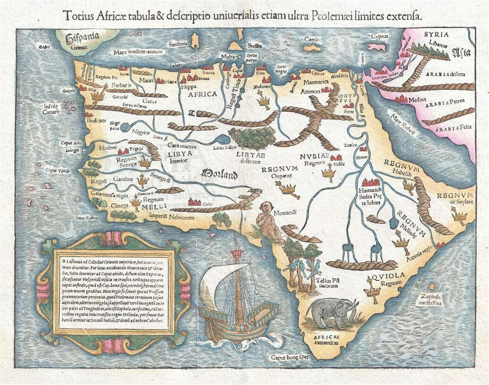 1550 Munster Map of Africa