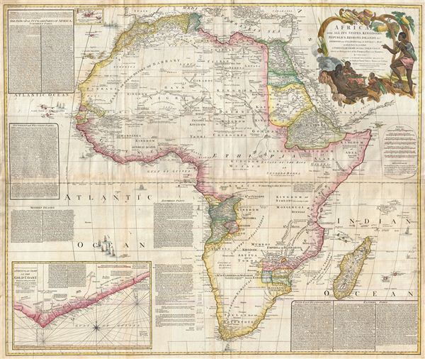 Africa, with all its States, Kingdoms, Republics, Regions, Islands, & cca. Improved and Inlarged form D'Anville's Map to which has been added A Particular Chart of the Gold Coast wherein are Distinguished all the European Forts, and Factories by S. Boulton and also A Summary Description relative to the Trade adn Natural Produce, Manners and Customs of the African Continent and Islands. - Main View