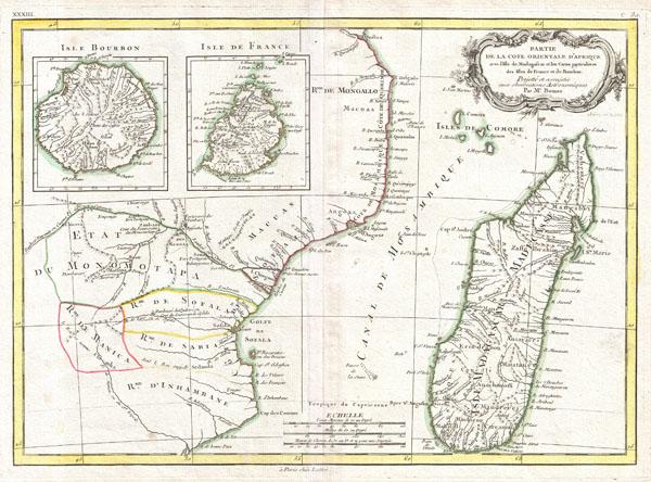 Partie de la Cote Orientale D'Afrique avec L'Isle de Madagascar et les Cartes particulieres des Isles de France et de Bourbon.