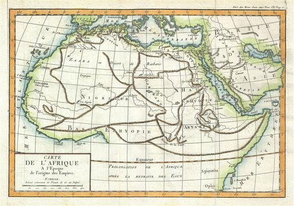 Carte de l'Afrique A l'Epoque de l'origine des Empires.