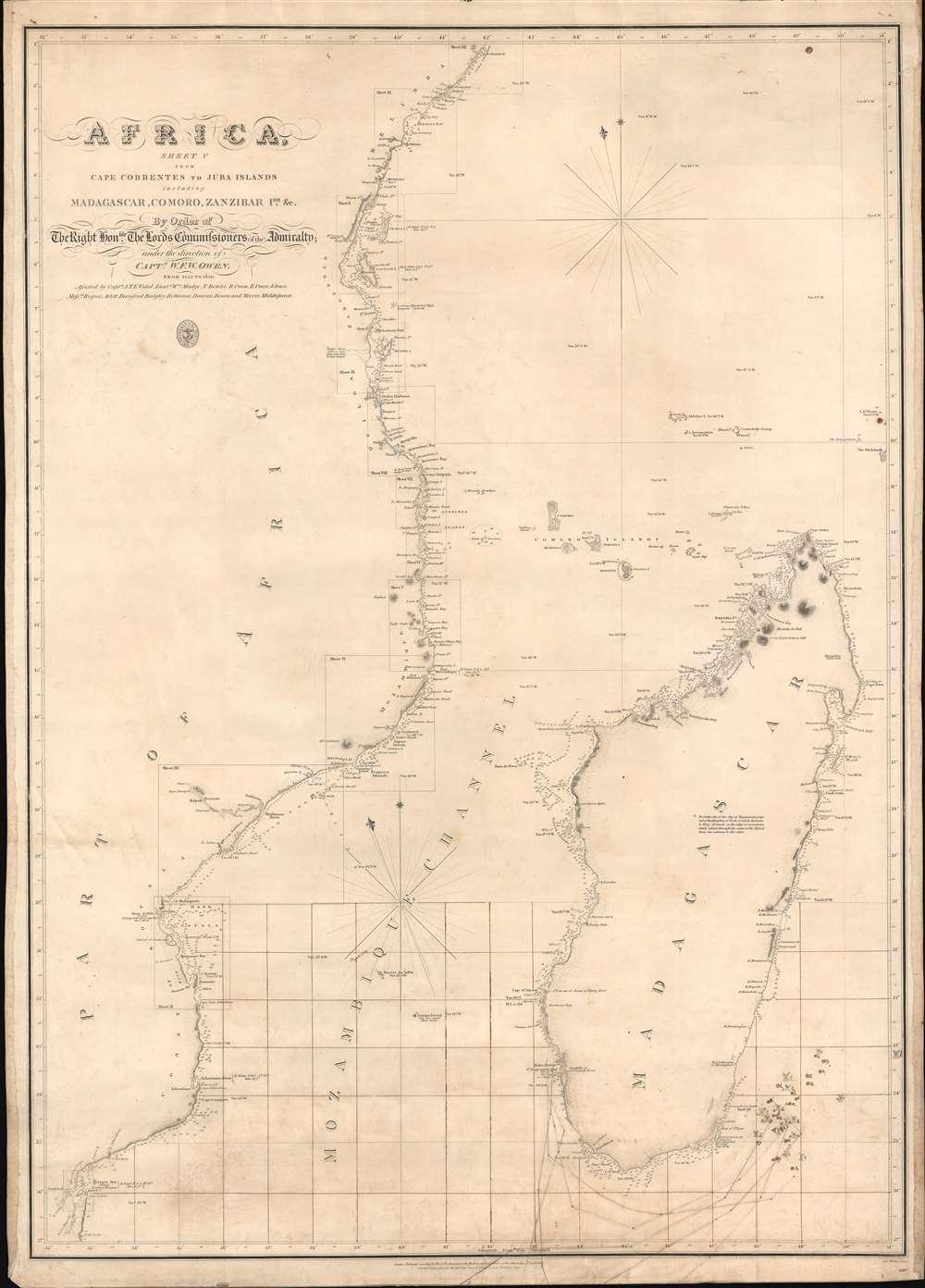 Africa Sheet V from Cape Correntes to Juba Islands including Madagascar, Comoro, Zanzibar Ids. And c. - Main View