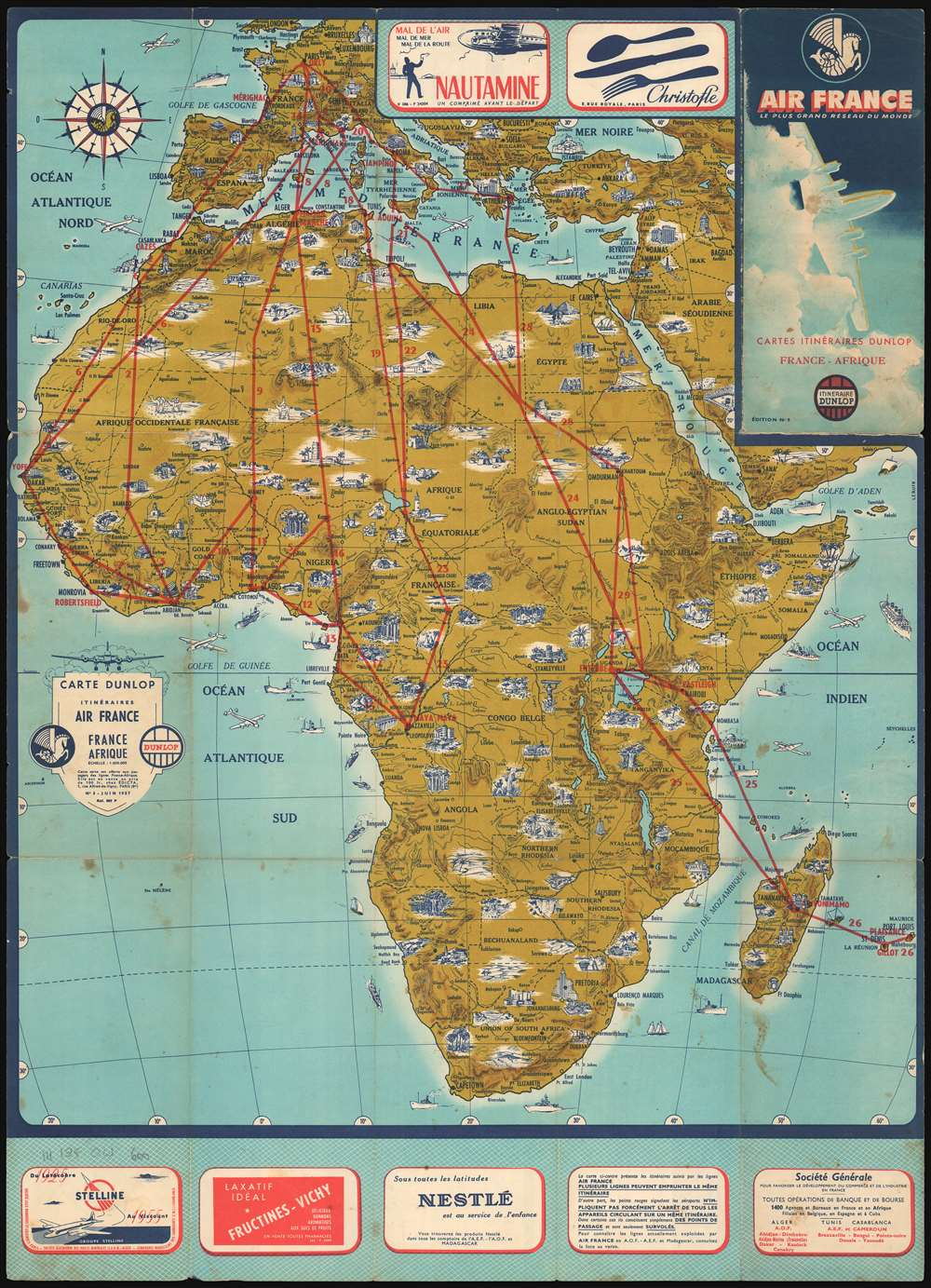 Air France Africa Route Map Carte Dunlop Itinéraires Air France France Afrique.: Geographicus