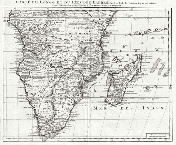 Carte du Congo et du Pays des Cafres. Par G. de l'Isle de l'Academie Royale des Sciences. A Amsterdam, Chez Jean Covens et Corneille Mortier, Geographes.