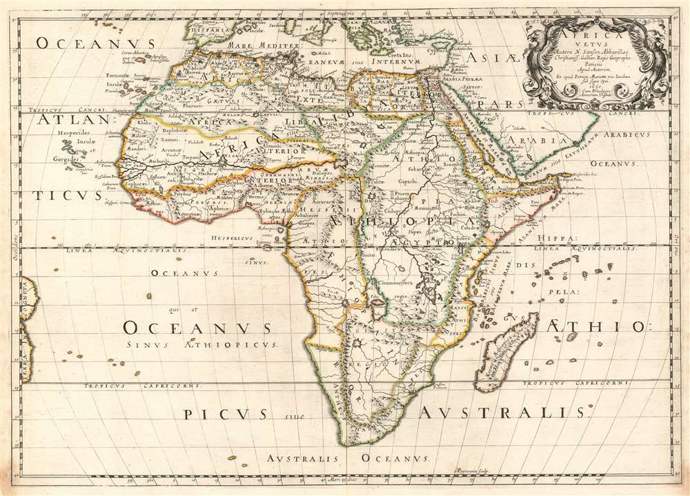 Ancient Africa Map 1650 Sanson Map of Ancient Africa | eBay