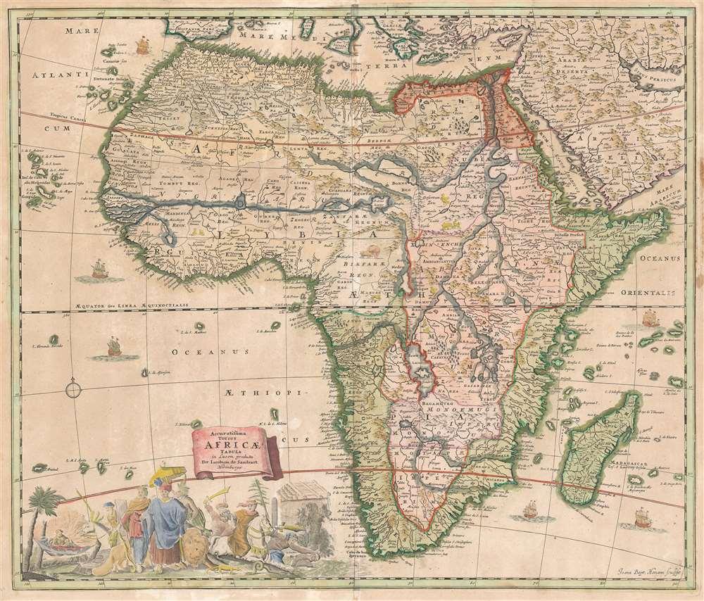 Accuratissima Totius Africae Tabula in Lucem producta per Iacobum de Sandrart Norimbergae. - Main View