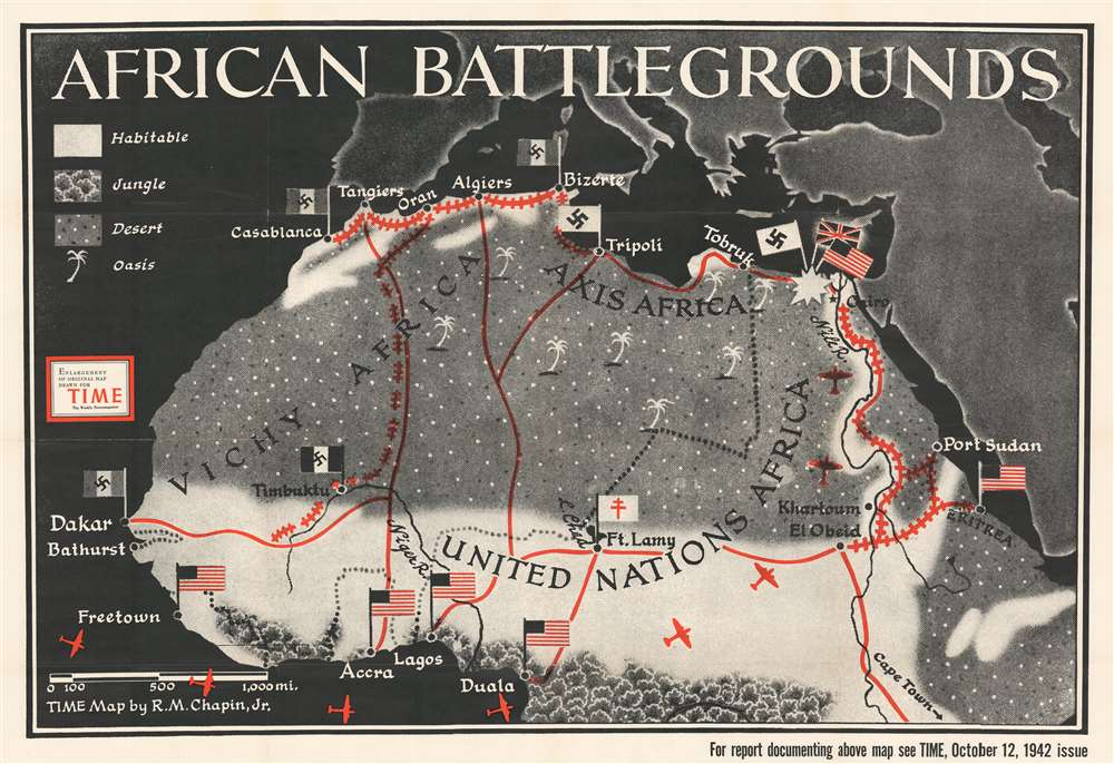 1942 Chapin Map of North Africa During World War II