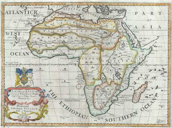 A New Map of Africk Shewing its Present General Divisions Chief Cities or Towns, Rivers, Mountains etc.
