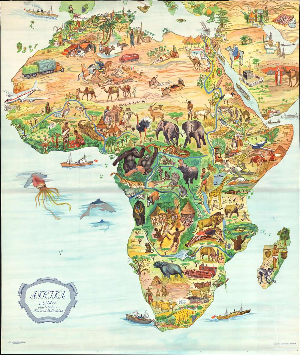 Map Of Africa 1955 Afrika i bilder.: Geographicus Rare Antique Maps