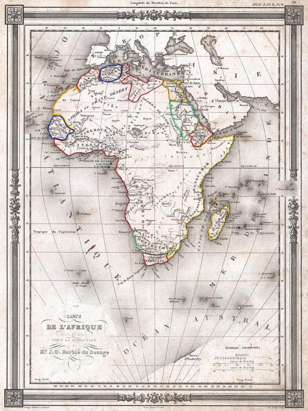 Carte de L'Afrique dressee ET dessinee sous la Direction de Mr. J. G. Barbie du Bocage.