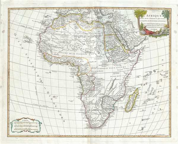 L'Afrique dressee, sur les relations les plus recentes, et assujettie aux observations astronomiques.