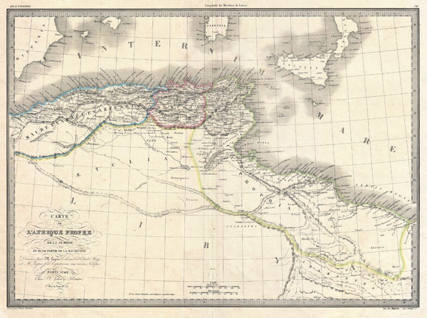1829 Lapie Historical Map of the Barbary Coast in Ancient Roman Times
