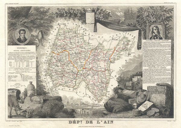1852 Levasseur Map of the Department L'Ain, France (Bugey Wine Region)