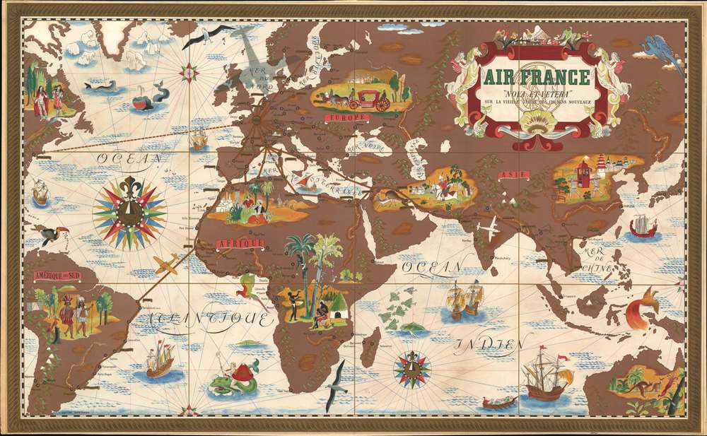 1939 Lucien Boucher Air France Pictorial Map of the World