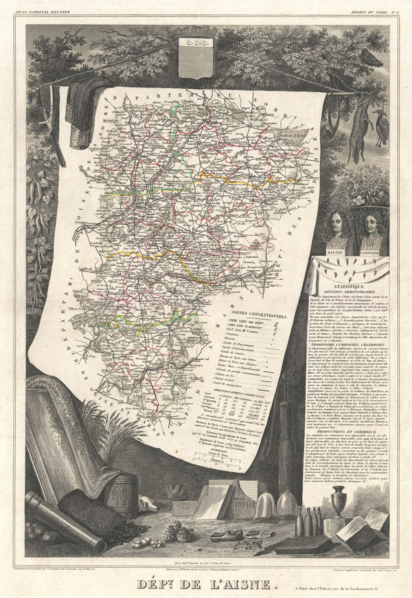 1852 Levasseur Map of the Department L'Aisne, France