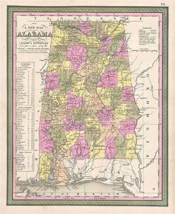 A New Map of Alabama with its Roads and Distances from place to place, along the Stage and Steam Boat Routes.