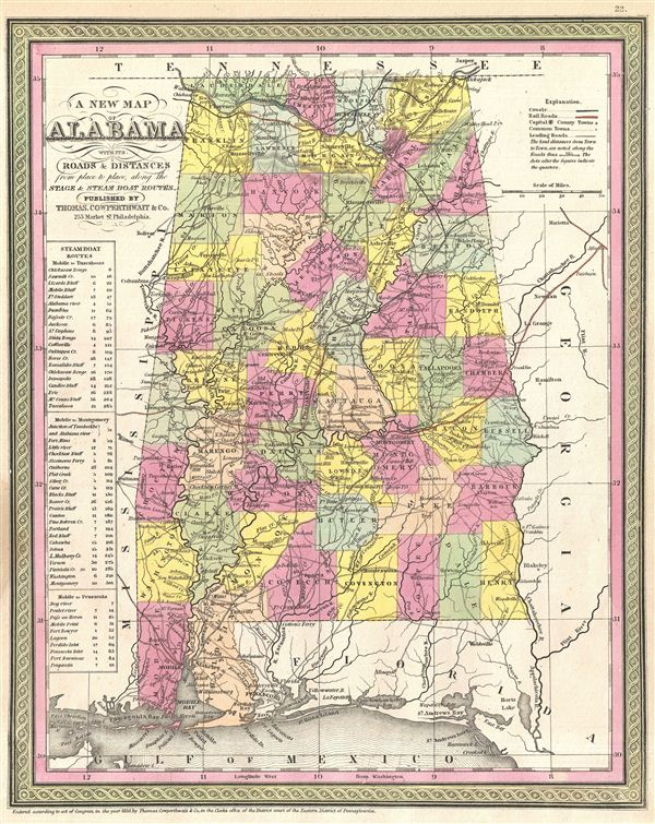 A New Map Of Alabama With Its Roads Distances From Place To - Road map of alabama